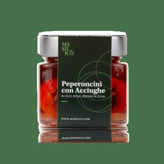 Peperoncini con acciughe in olio extra vergine di oliva 190 g