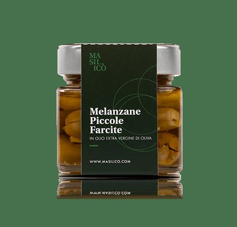 Melanzane piccole farcite in olio extra vergine di oliva 190 g