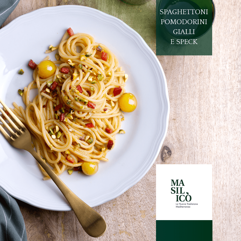 Spaghettoni pomodorini gialli e speck – La Ricetta della Settimana