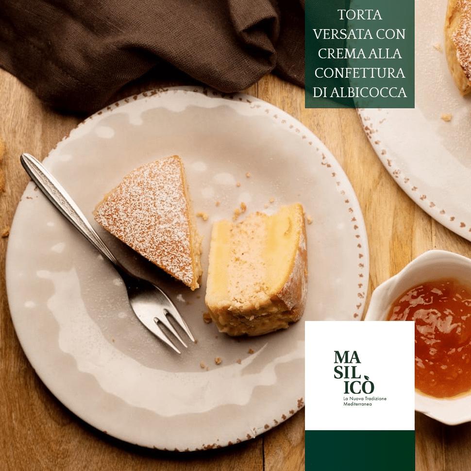 Torta versata con crema di confettura all'albicocca|